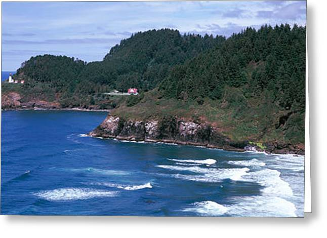 Oregon Lighthouse Image Greeting Cards - Lighthouse On The Coast, Heceta Head Greeting Card by Panoramic Images