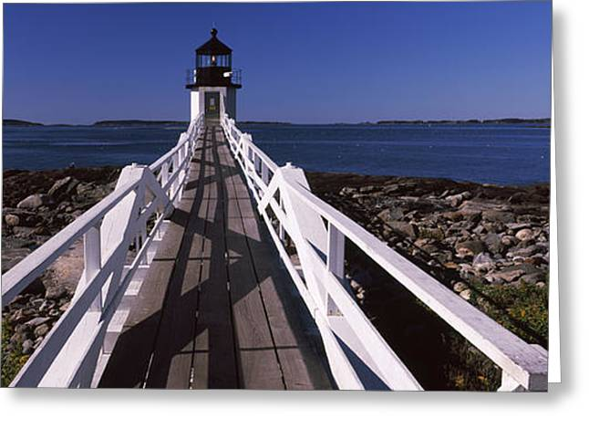 Coastal Maine Greeting Cards - Lighthouse On The Coast, Marshall Point Greeting Card by Panoramic Images