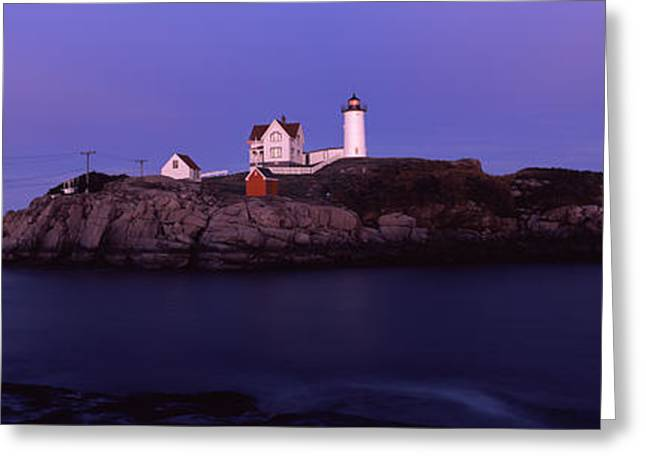 Maine Lighthouses Greeting Cards - Lighthouse On The Coast, Nubble Greeting Card by Panoramic Images