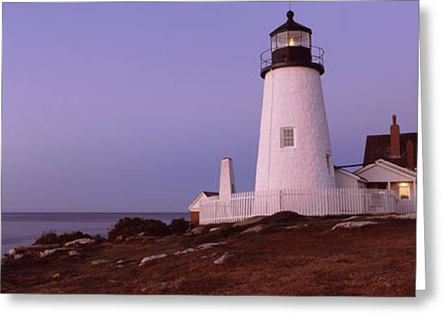 Lighthouse Photography Greeting Cards - Lighthouse On The Coast, Pemaquid Point Greeting Card by Panoramic Images
