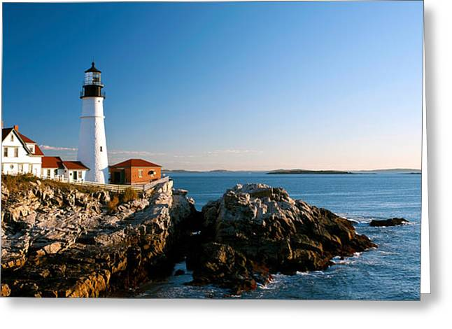 Lighthouse On The Coast, Portland Head Greeting Card by Panoramic Images