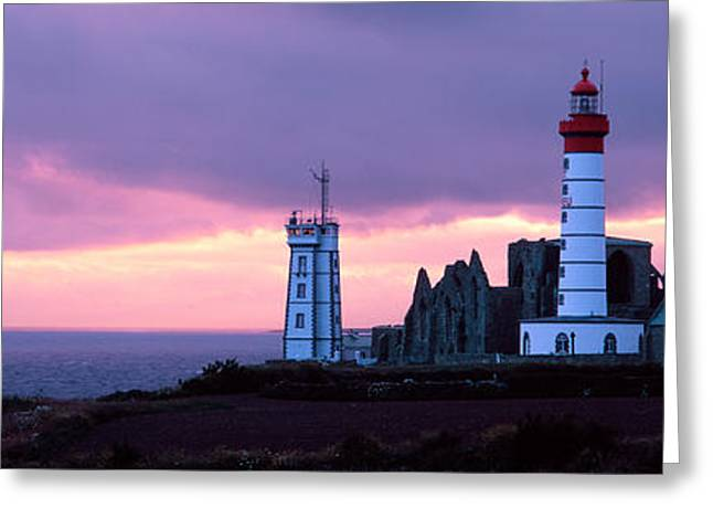 Overcast Day Greeting Cards - Lighthouse On The Coast, Saint Mathieu Greeting Card by Panoramic Images
