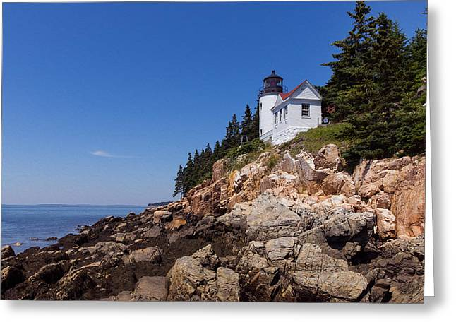 Old Maine Houses Greeting Cards - Lighthouse on the Edge Greeting Card by John Bailey