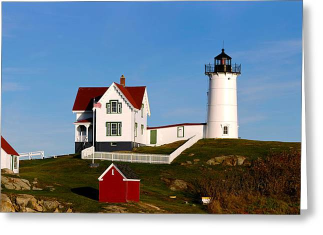 Cape Neddick Lighthouse Greeting Cards - Lighthouse On The Hill, Cape Neddick Greeting Card by Panoramic Images
