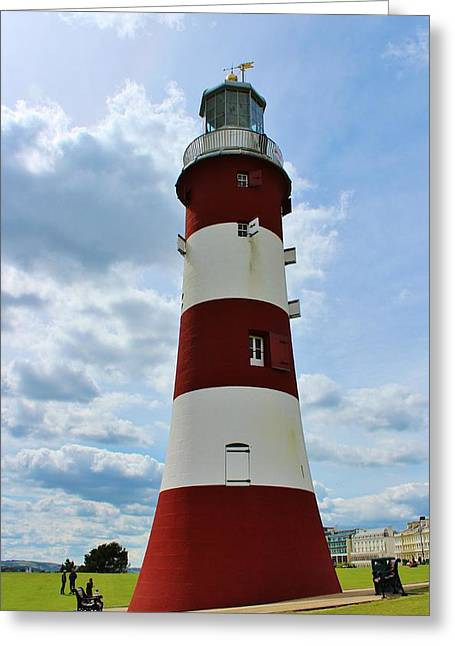 Lighthouse On The Hoe Greeting Card by Theresa Selley
