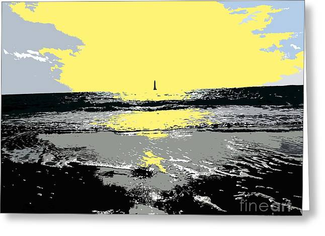Buy Tshirts Mixed Media Greeting Cards - Lighthouse On The Horizon Greeting Card by Patrick J Murphy