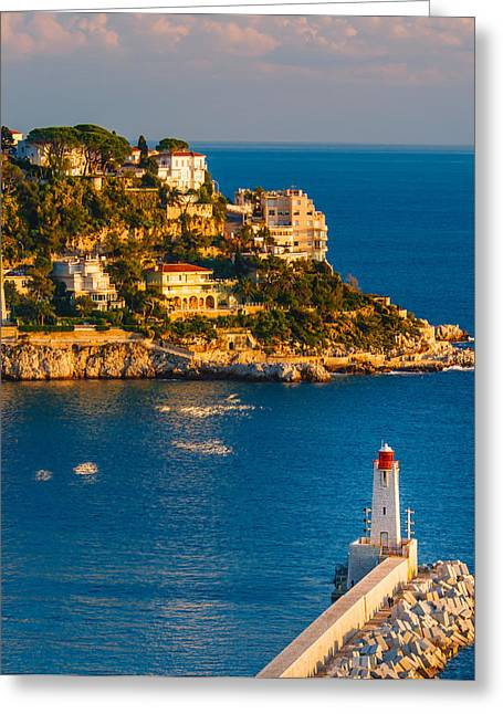 Port Greeting Cards - Lighthouse on the Riviera Greeting Card by Sarit Sotangkur