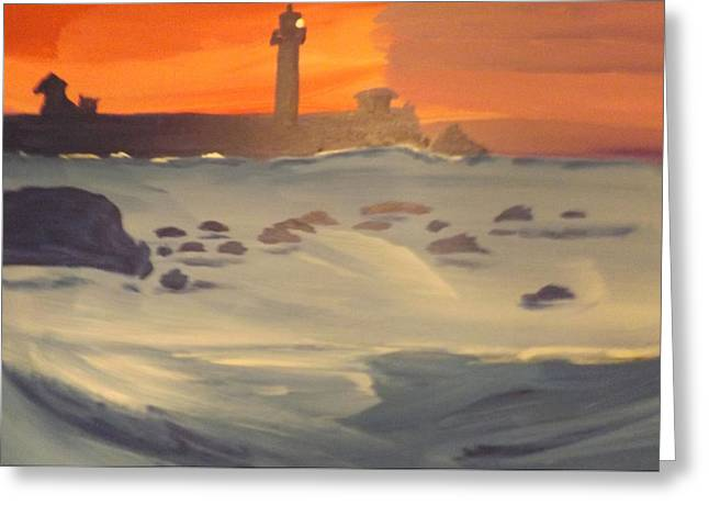 New England Lighthouse Drawings Greeting Cards - Lighthouse on the Rocks Greeting Card by Don Koester