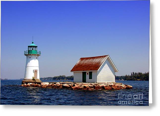 Waterways Greeting Cards - Lighthouse on the St Lawrence River Greeting Card by Olivier Le Queinec
