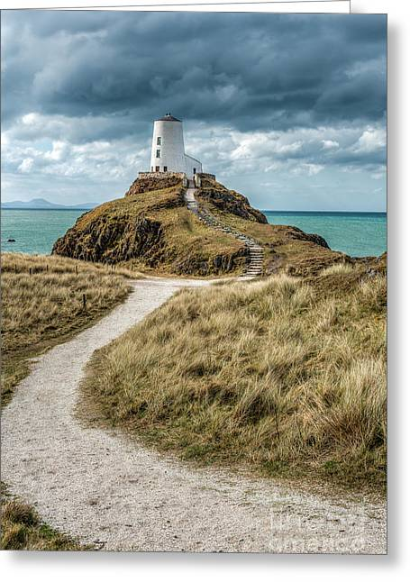 Dome Greeting Cards - Lighthouse Path Greeting Card by Adrian Evans