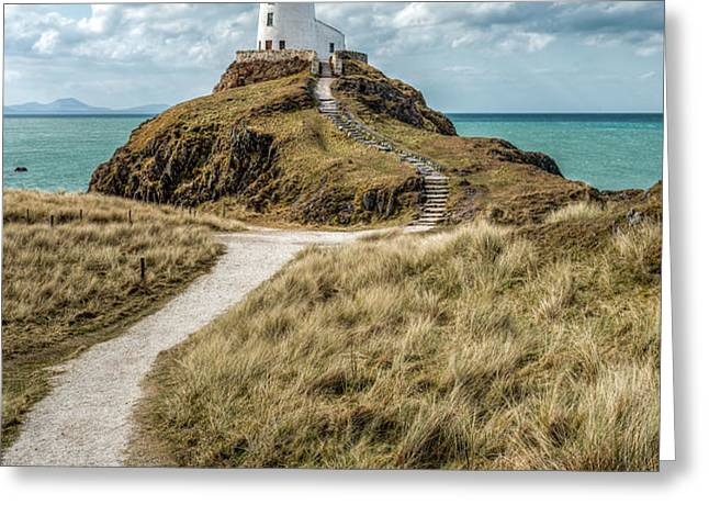 Lighthouse Path Greeting Card by Adrian Evans