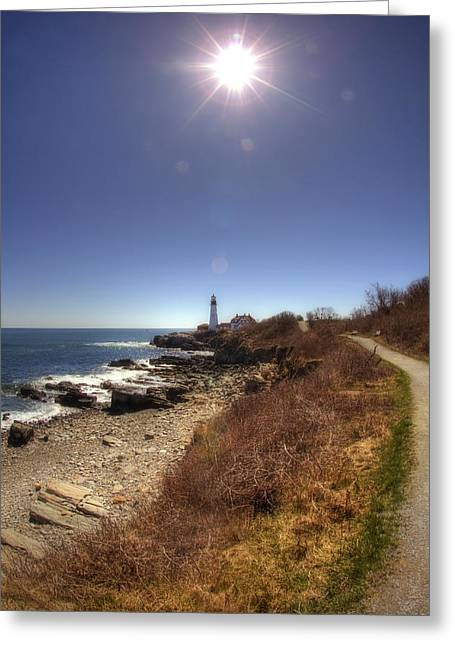 Maine Coastal Scenes Greeting Cards - Lighthouse Path Greeting Card by Joann Vitali
