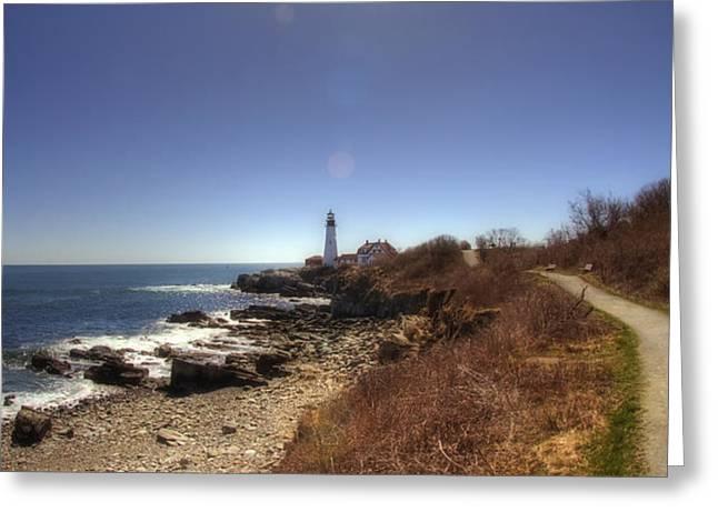 Lighthouse Path Greeting Card by Joann Vitali