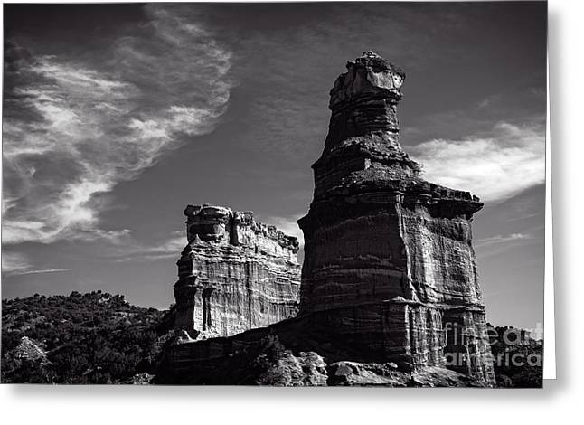 Caprock Canyons State Park Greeting Cards - Lighthouse Peak and Castle Rock Greeting Card by Charles Dobbs