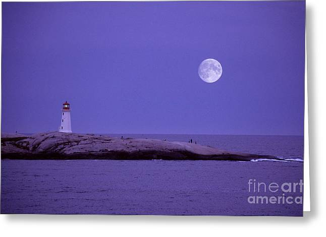 Sea Moon Full Moon Greeting Cards - Lighthouse, Peggys Cove Greeting Card by Novastock