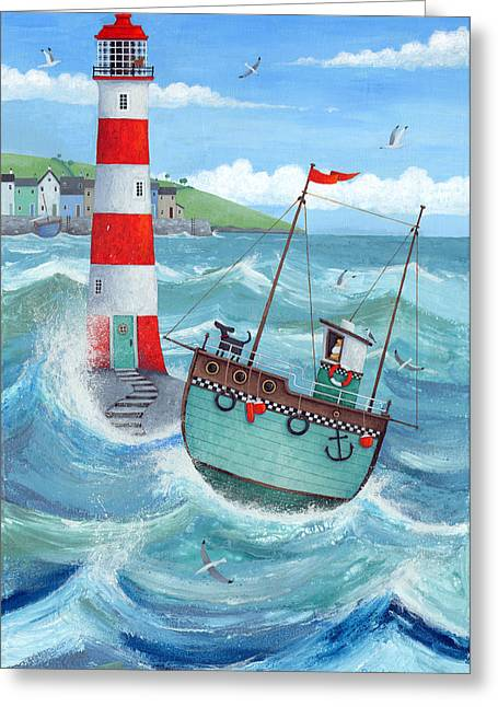 Sailing Boat Photographs Greeting Cards - Lighthouse Greeting Card by Peter Adderley