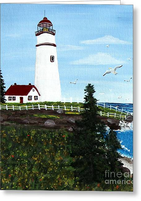 Spiral Staircase Paintings Greeting Cards - Lighthouse Point Greeting Card by Barbara Griffin