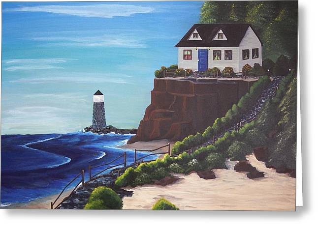 Green Ocean With White Water Greeting Cards - Lighthouse Point Getaway Greeting Card by Gerard Provost