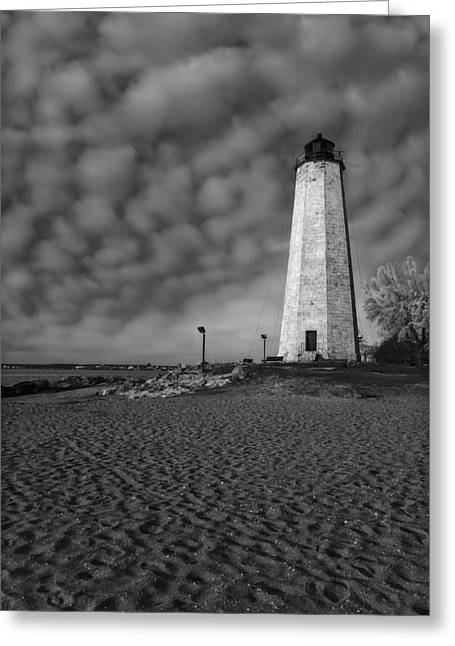 Connecticut Scenery Greeting Cards - Lighthouse Point Park BW Greeting Card by Susan Candelario