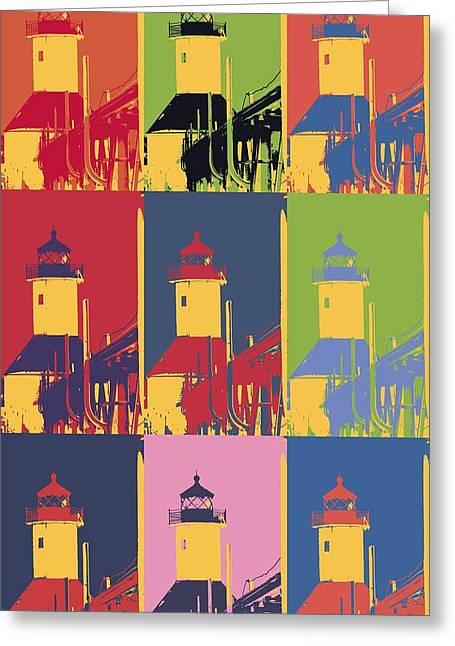 Saint Joseph Mixed Media Greeting Cards - Lighthouse Pop Art Greeting Card by Dan Sproul