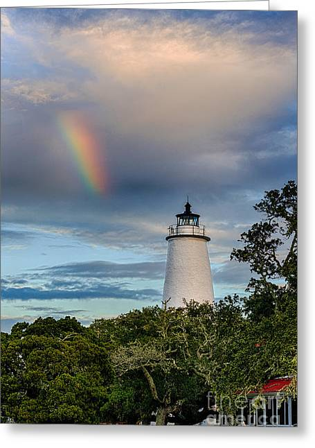North Sea Pyrography Greeting Cards - Lighthouse Rainbow Greeting Card by Dan Waters