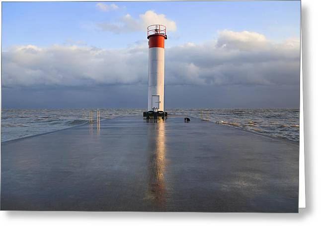 Entrance Door Greeting Cards - Lighthouse Reflected On A Wet Pier Greeting Card by Mary Ellen McQuay