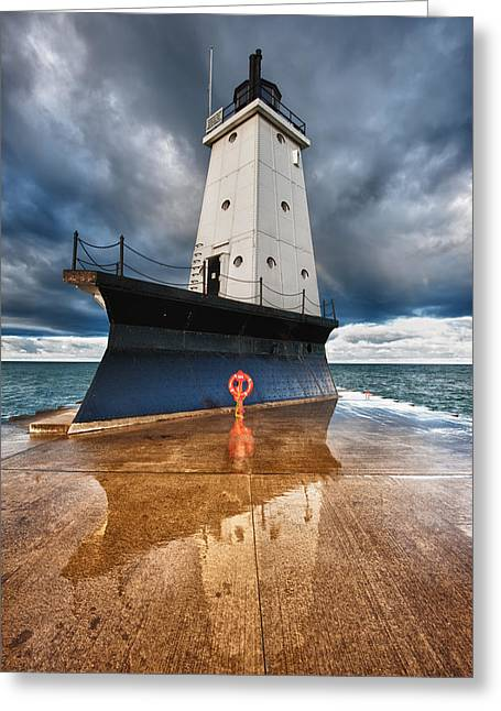 Sailing Greeting Cards - Lighthouse Reflection Greeting Card by Sebastian Musial