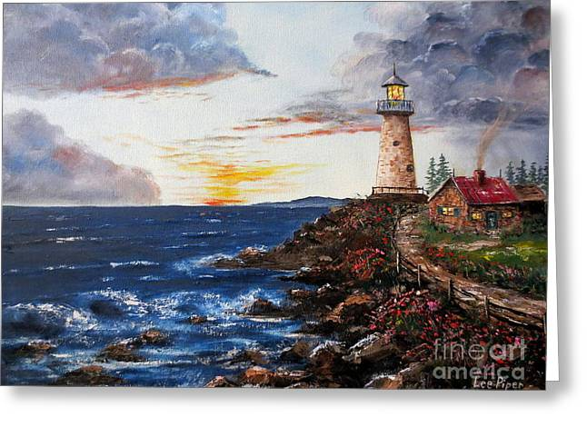 Lee Piper Art Greeting Cards - LIghthouse Road At Sunset Greeting Card by Lee Piper