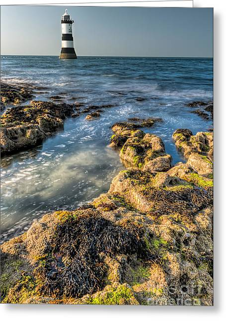 Sea Shore Digital Art Greeting Cards - Lighthouse Rocks Greeting Card by Adrian Evans