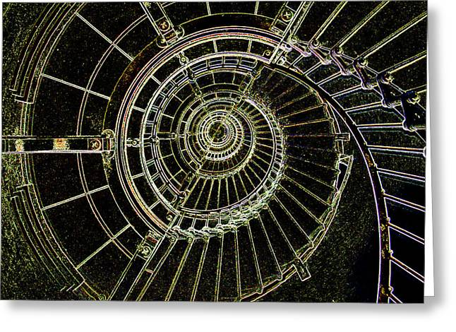 Spiral Staircase Mixed Media Greeting Cards - Lighthouse Stairs Greeting Card by Dennis Dugan