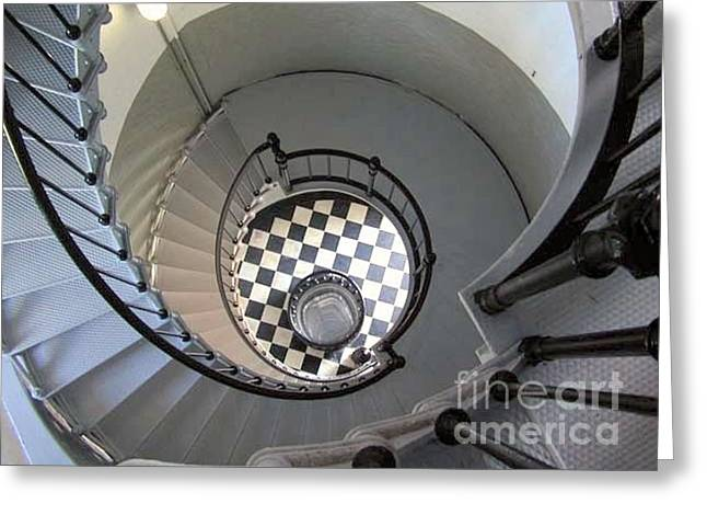 Black Top Greeting Cards - Lighthouse Stairway Greeting Card by Sabrina Wheeler