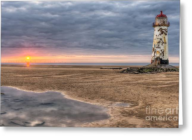 Sea Shore Digital Art Greeting Cards - Lighthouse Sunset Greeting Card by Adrian Evans