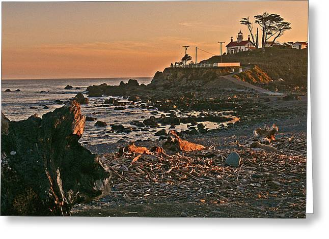 Visiting Hours Greeting Cards - Lighthouse Sunset  Greeting Card by Gracia  Molloy