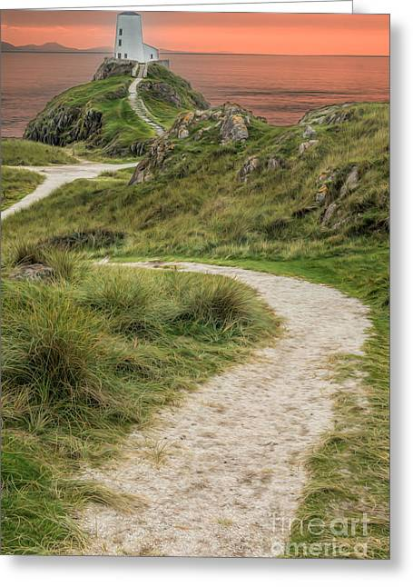 Newborough Greeting Cards - Lighthouse Trail Greeting Card by Adrian Evans