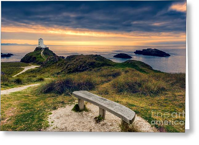 Newborough Greeting Cards - Lighthouse View Greeting Card by Adrian Evans