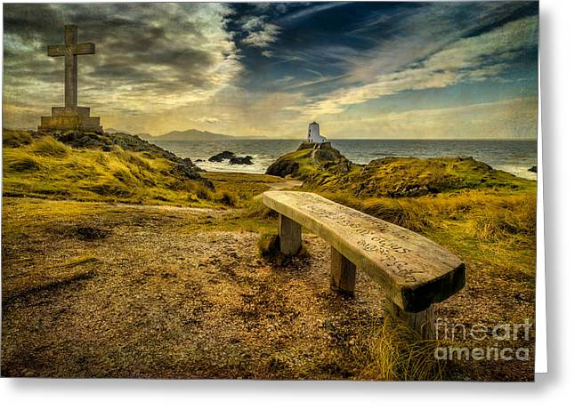 Religious Digital Art Greeting Cards - Lighthouse Viewpoint Greeting Card by Adrian Evans