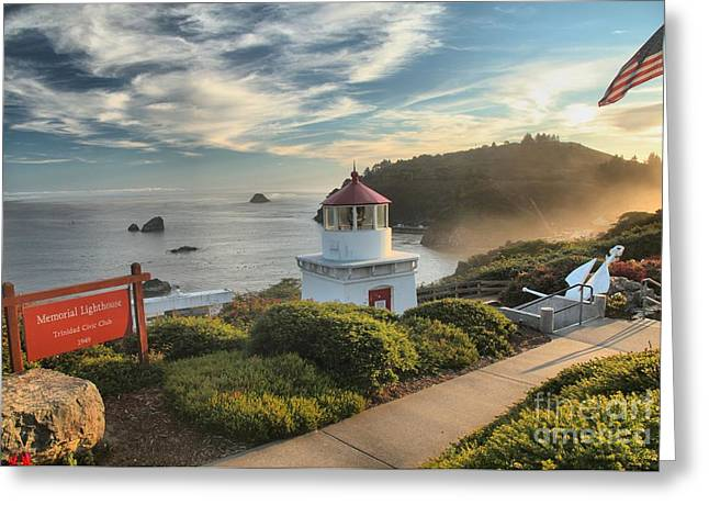 Foggy Beach Greeting Cards - Lighthouse Walk Greeting Card by Adam Jewell