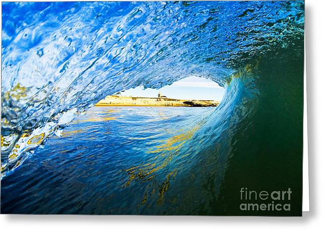 Santa Cruz Surfing Greeting Cards - Lighthouse Wave 2 Greeting Card by Paul Topp