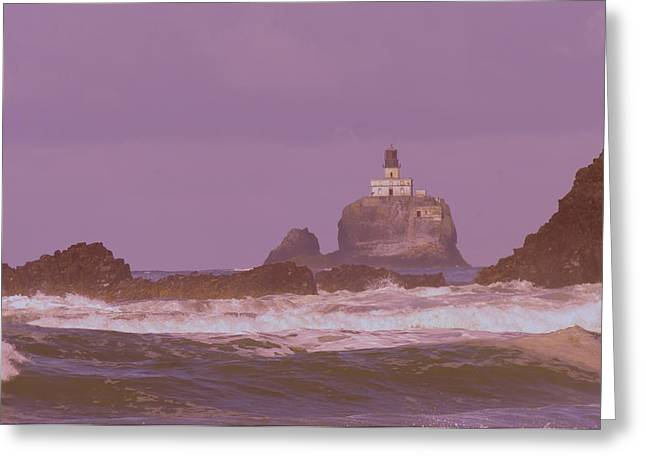 Oregon Lighthouse Image Greeting Cards - Lighthouse Waves And Rocks Greeting Card by Jeff  Swan
