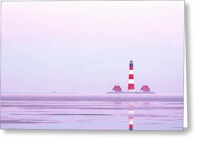 Foggy Day Greeting Cards - Lighthouse Westerhever North Sea Germany Greeting Card by Panoramic Images