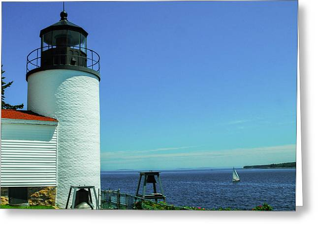 Maine Lighthouses Greeting Cards - Bass Harbor Head Lighthouse Greeting Card by Will Burlingham