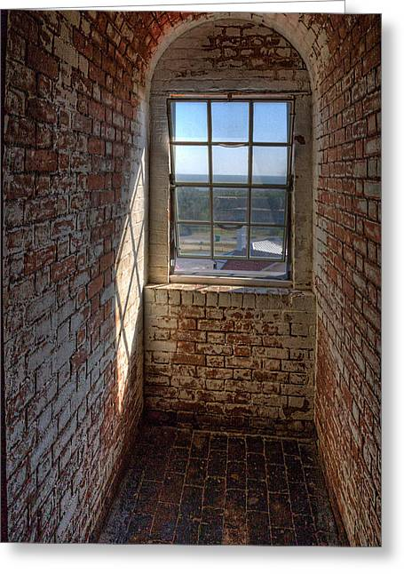 Window Light Greeting Cards - Lighthouse Window Greeting Card by Peter Tellone