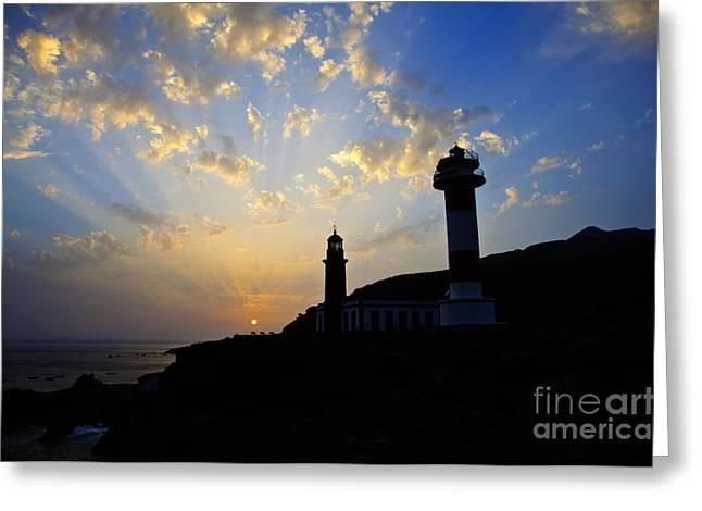 Westen Greeting Cards - Lighthouses in sunset Greeting Card by Fabian Roessler