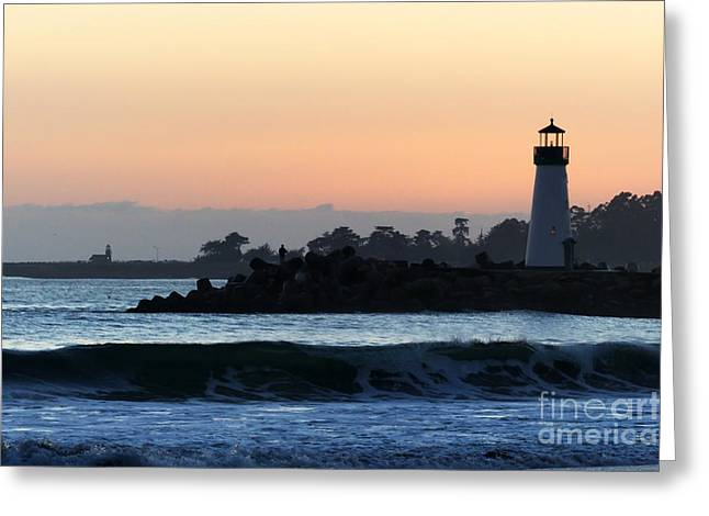 Santa Cruz Greeting Cards - Lighthouses of Santa Cruz Greeting Card by Paul Topp