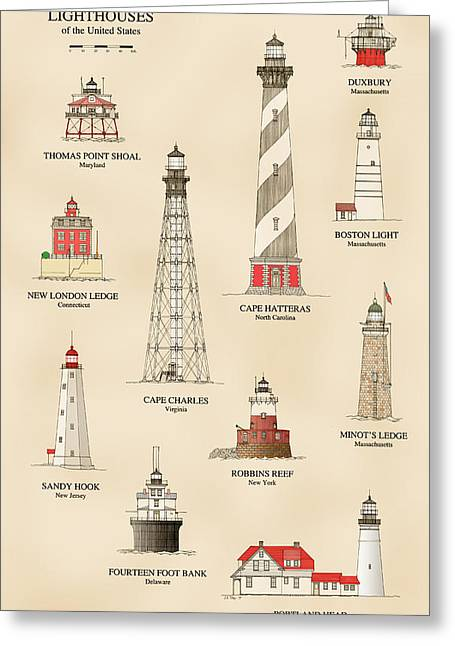 Recently Sold -  - Ledge Greeting Cards - Lighthouses of the East Coast Greeting Card by Jerry McElroy - Public Domain Image