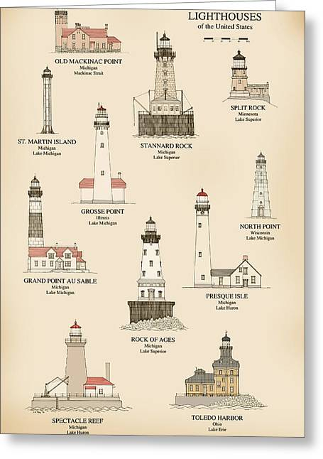 Split Drawings Greeting Cards - Lighthouses of the Great Lakes Greeting Card by Jerry McElroy - Public Domain Image