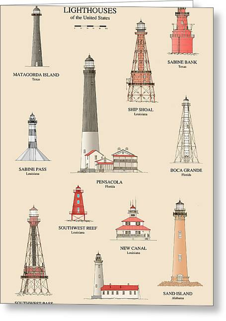 Lake House Drawings Greeting Cards - Lighthouses of the Gulf Coast Greeting Card by Jerry McElroy - Public Domain Image