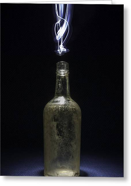 Booze Greeting Cards - Lighting By The Quart - Light Painting Greeting Card by Steven Milner