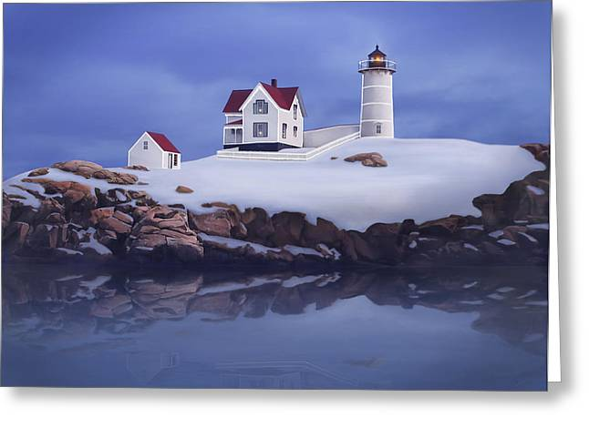 Nubble Lighthouse Paintings Greeting Cards - Lighting of the Nubble Lighthouse Greeting Card by James Charles