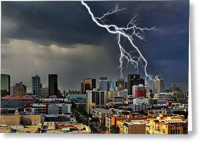 """lightning Strike"" Greeting Cards - Lighting Strike Downtown San Diego Greeting Card by Russ Harris"